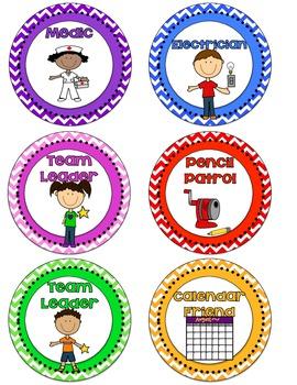 3.5 inch circular Chevron Classroom Jobs 23 different jobs!