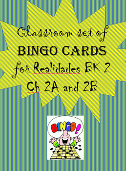 photo regarding Bk Printable Application titled 35 printable/editable Spanish Bingo Playing cards for Realidades Bk 2 Ch. 2A and 2B