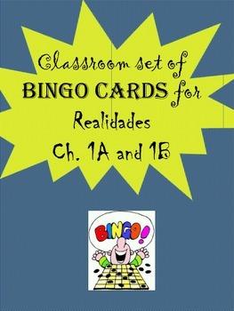 35 printable/editable Spanish Bingo Cards for Realidades Ch. 1A and 1B