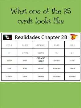 35 printable/editable Spanish Bingo Cards for Realidades Ch. 2A and 2B