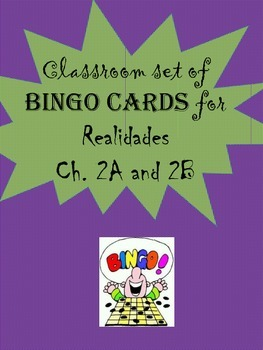 35 printable/editable Spanish Bingo Cards for Realidades C