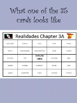 35 printable/editable Spanish Bingo Cards for Realidades Ch. 3A and 3B