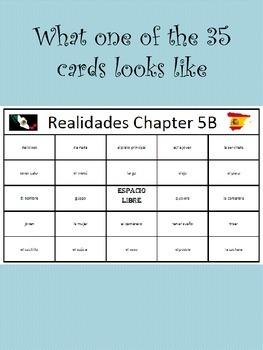35 printable/editable Spanish Bingo Cards for Realidades Ch. 5A and 5B