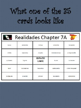 35 printable/editable Spanish Bingo Cards for Realidades Ch. 7A and 7B