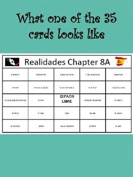 35 printable/editable Spanish Bingo Cards for Realidades Ch. 8A and 8B