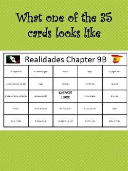 35 printable/editable Spanish Bingo Cards for Realidades Ch. 9A and 9B