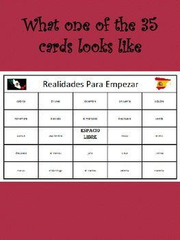 35 printable/editable Spanish Bingo Cards for Realidades Para Empezar