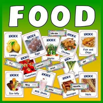 350 FOOD FLASHCARDS - DISPLAY TERMS SCIENCE TECHNOLOGY KS2-4 HEALTHY EATING