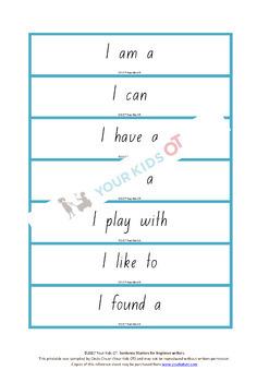 350 Sentence starters for beginner writers - Kindergarten and year 1