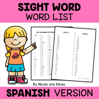 Spanish Sight Words Lists