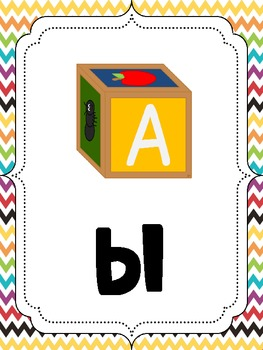 36 Blends & Digraphs Reference Posters - Chevron Theme