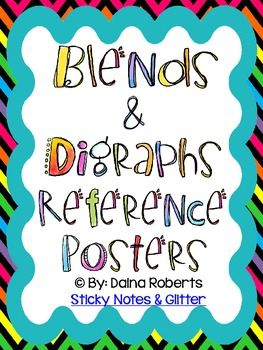 36 Blends & Digraphs Reference Posters - Neon Chevron Theme