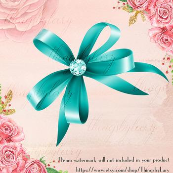 36 Bow with Diamond Clip Arts, Princess Shiny Bow, Satin Bow