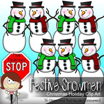 Snowman Clip art -  36 Red and Green {The Teacher Stop}