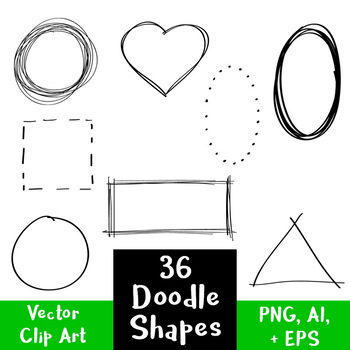 36 Doodle Basic Shapes | Hand Drawn Clipart | Frames, Borders ...