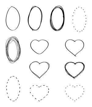 36 Doodle Basic Shapes | Hand Drawn Clipart | Frames, Borders | Circle, Square