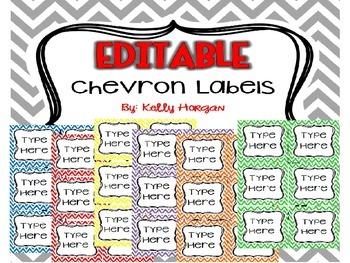 36 EDITABLE Chevron Labels / Tags
