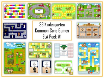 36 ELA Kindergarten Folder Games - Common Core Pack #1 -