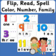 36 Flip, Read, and Spell Cards: Family, Color, Number | Phonics is Jolly Fun!