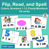 36 Flip, Read, and Spell Cards: Family, Color, Number | Ph