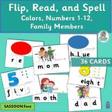 Phoneme Blending & Segmentation Activities: Color, Number, Family (SASSOON Font)