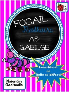 36 Focail Radhairc as Gaeilge - Naíonáin - Gaelscoil - Balla na bhFocal