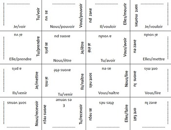 36 French Verb Form Puzzles