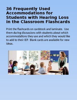 36 Frequently Used Accommodations for Students with Hearing Loss Flashcards