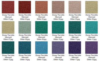 36 Glitter and Solid Color Princess Green Red and Purple