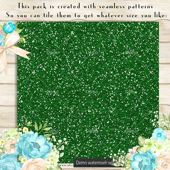 36 Glitter and Solid Color Princess Green and Brown Papers