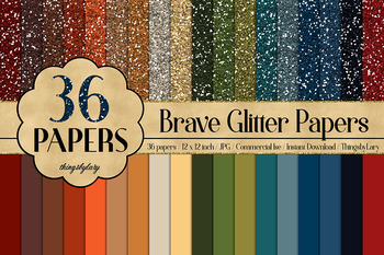 36 Glitter and Solid Color Princess Orange and Green Papers