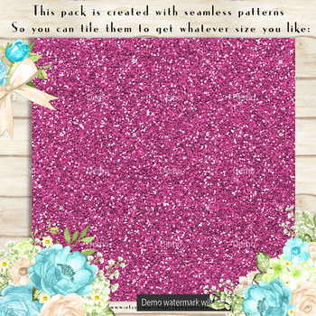 36 Glitter and Solid Color Princess Pink and Blue Papers