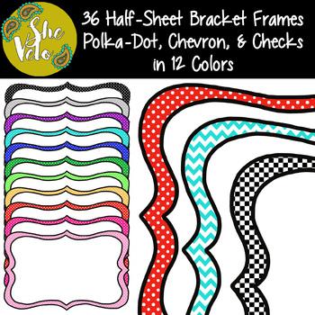 36 Half-Sheet Bracket Frames - Polka-Dot, Chevron, and Checks - 12 Colors