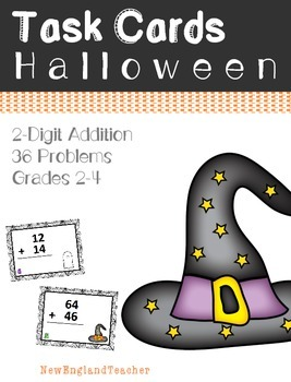 36 Halloween Themed 2 Digit Addition Task Cards with Carrying (Grade 1 - 2)
