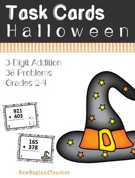 36 Halloween Themed 3 Digit Addition Task Cards with Carrying (Grade 2-3)