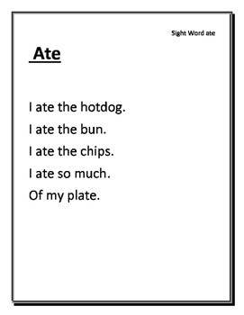 36 High Frequency Words/ Sight Word Poems....Common Core ....