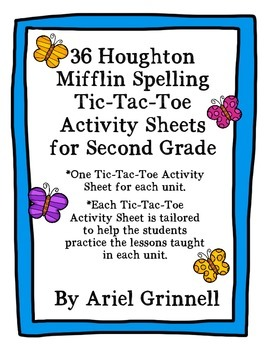 36 Houghton Mifflin Second Grade Spelling Tic-Tac-Toe Activity Sheets