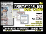 "36 ""Informational Text"" Common Core Task Cards - ANY Text -Critical Thinking"