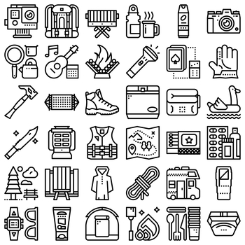 36 Line Icons - Camping