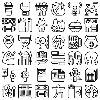 36 Line Icons - Fitness