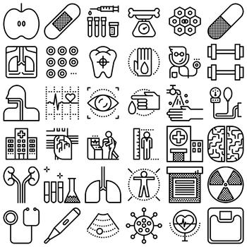 36 Line Icons - Health