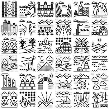 36 Line Icons - Landscapes