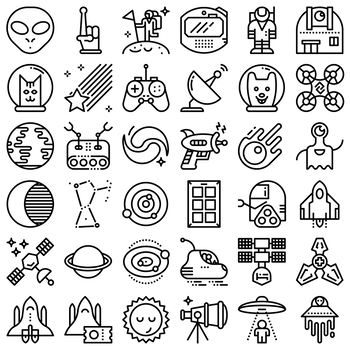 36 Line Icons - Space