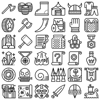 36 Line Icons - Vikings