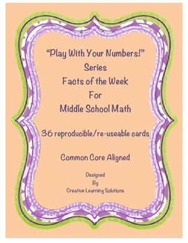 36 Middle School Math Facts of the Week Cards-Play With Yo