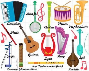 36 PNG/JPG Musical Instruments ClipArt Set 1- Digital Clip Art Graphics (127)