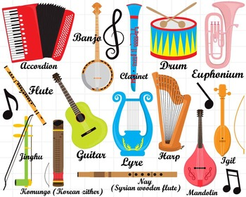 36 png jpg musical instruments clipart set 1 digital clip art rh teacherspayteachers com musical instruments clipart with names musical instruments clipart png