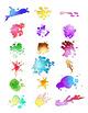 36 Paint Splatters | Watercolor Splotches, Smears, Drips, Drops | Vector Clipart