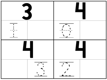 36 Part-Whole 4x5 Trace and Fill In the Missing Number Cards. PreK-KDG. Math