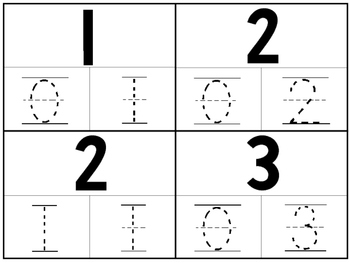 36 Part-Whole Numbers 1-10 4x5 Tracing Cards. PreK-Kindergarten Math.